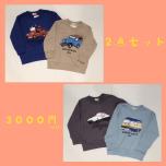 男の子2点セット¥3,000トレーナー販売開始☆