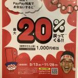 PayPay 支払いで最大20% 戻って来る!
